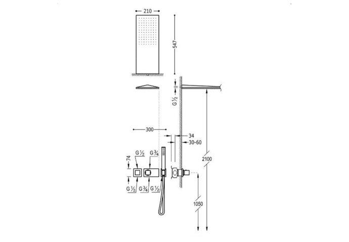 Regendouche Inbouw Tres Slim Thermostaatkraan 21x55 cm Douchekop Rechthoek Mat Zwart