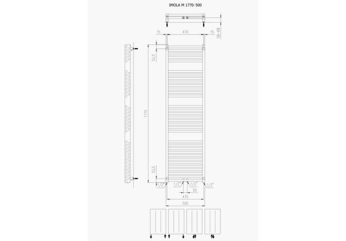 Designradiator Boss & Wessing Ifona 177x50 cm 1155 Watt Met Middenaansluiting Donkergrijs Structuur