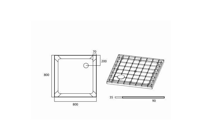 Douchebak VM Go Helion 80x80x3.5cm Composiet Vierkant Wit Verstevigd