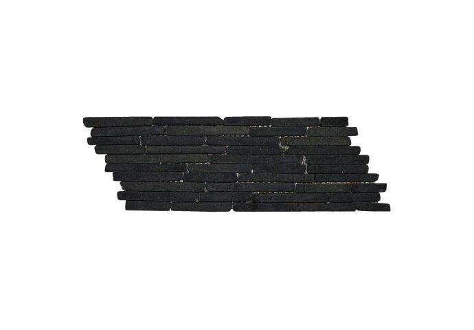 Mozaïek Horizontaal B Black Gray Lava/Riverstone 34x10 cm (Prijs per 0,55m²)