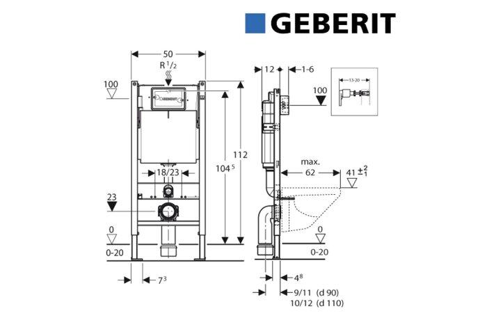 Inbouwreservoir Geberit UP100 Basic Inbouw Frontbediening (in hoogte/diepte verstelbaar)