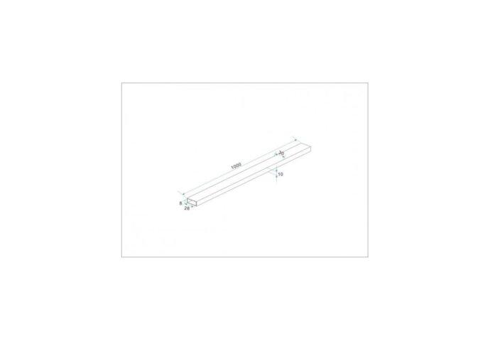 Rechthoekige stabilisatiestang chroom 100 cm