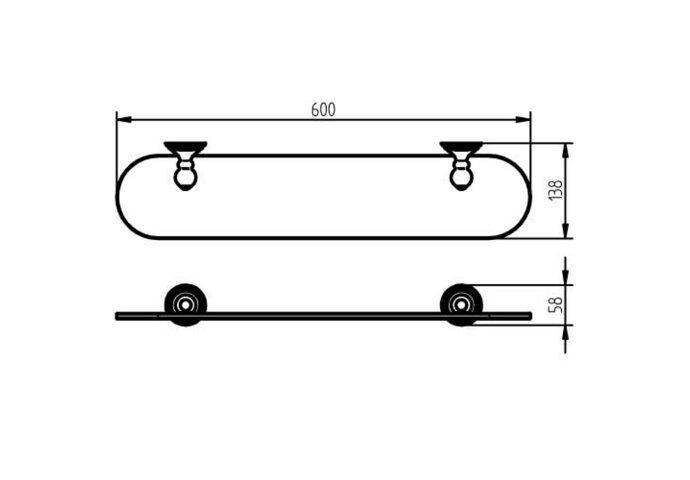 Planchet Haceka Allure 60x14 cm Chroom