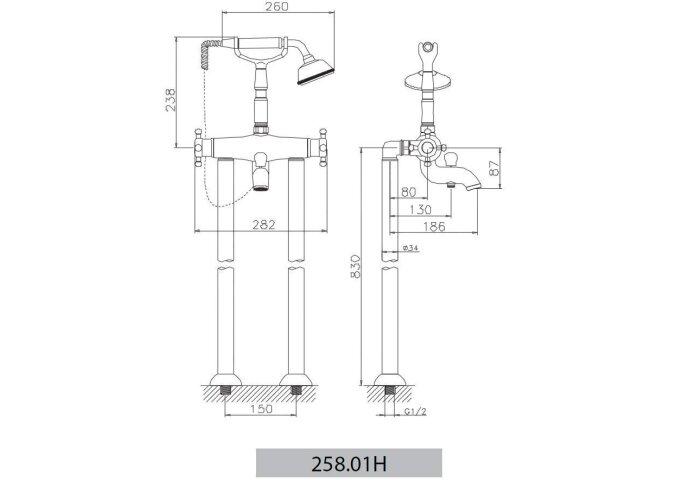 Huber Victorian Staande Thermostatische Badkraan met Douchegarnituur RVS 25801HNS