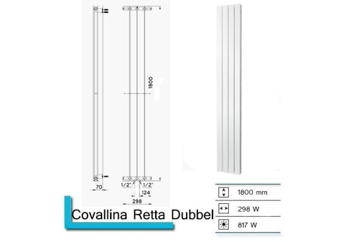 Designradiator Covallina Retta Dubbel 1800 x 298 mm Mat Wit