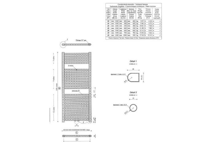 Elara sierradiator Mat Zwart 1185x600 Middenonder aansluiting