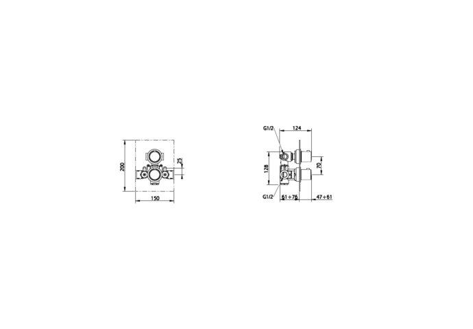 Inbouwthermostaat met Afbouwdeel Salenzi Giro Vierkant Mat Zwart