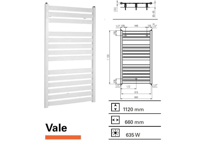 Designradiator Vale 1120 x 660 mm Zilver Metallic