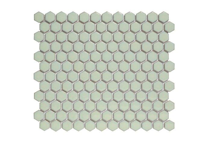 Mozaïek Barcelona 26x30 cm Geglazuurd Porselein Hexagon Glanzend Licht Groen (Prijs Per 0.78 m2)