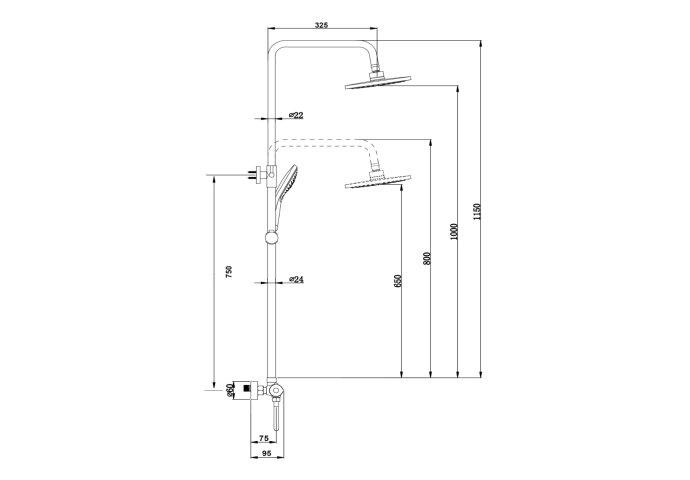 Opbouw Regendouche Set BWS Gold Pro Thermostatisch Staaf Handdouche Mat Goud 20 cm