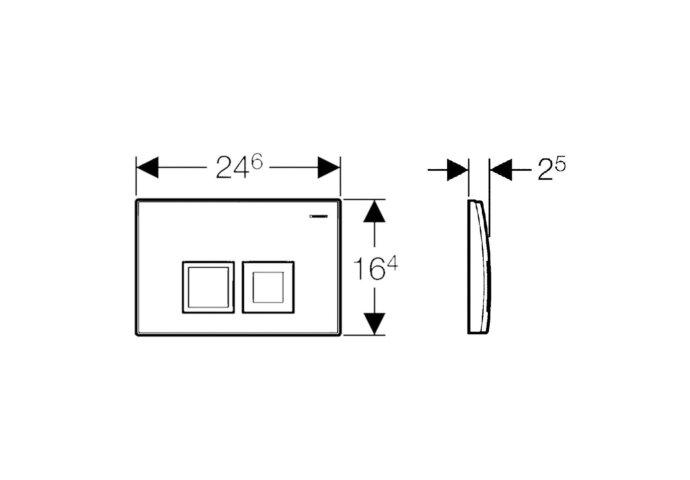 Drukplaat Geberit Delta 50 DualFlush Frontbediening Chroom