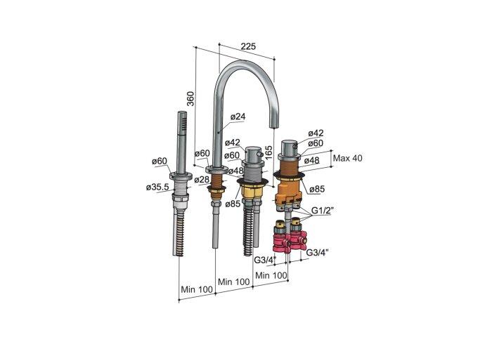 Badrandkraan Hotbath Buddy 2-knop Thermostatisch Compleet 4-gats Geborsteld Nikkel