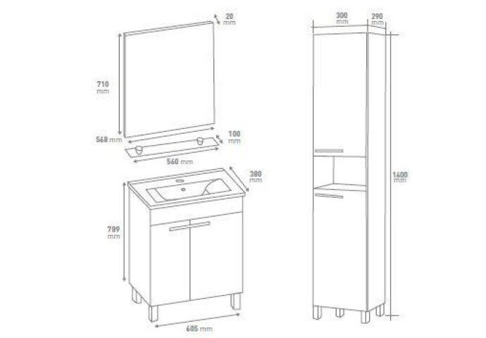 Complete badkamermeubel set Ruby 60cm incl Spiegel / verlichting / planchet / kraan