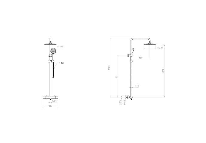 Douchesysteem Plieger Voda Thermostatisch met Douchekraan, Hoofddouche, Handdouche en Doucheslang HOH 15 cm Chroom