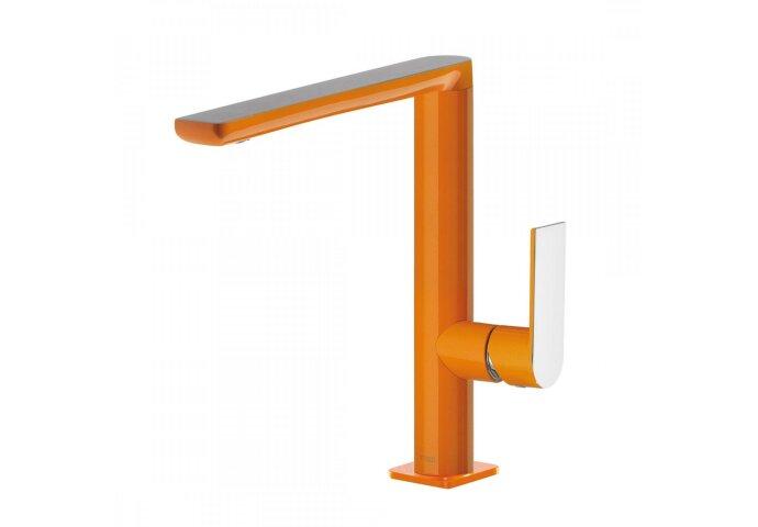 Wastafelmengkraan Tres Loft Colors 1-hendel Uitloop Recht 22 cm Rond Oranje Chroom