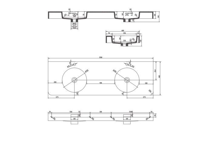 Wastafel Ideavit Solidbrio 150x48x14 cm Solid Surface Mat Wit