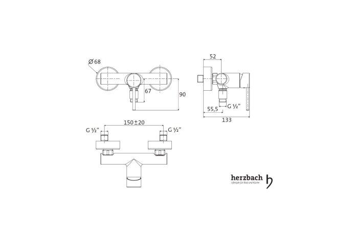Opbouw Douchekraan Herzbach Design New Thermostatisch Chroom