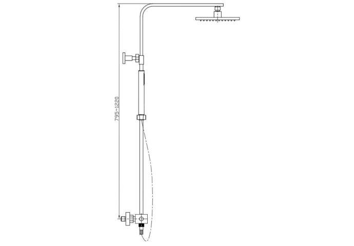 Rombo regendouche / stortdouche vierkant met handdouche chroom (Regendouche opbouw)