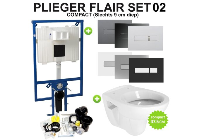 Plieger Flair Compact Toiletset set02 B&W Compact 47.5 cm met Flair drukplaat