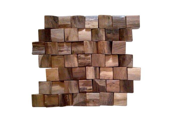 Mozaïek Hout 4,8x4,8 Old Teak 35x30 cm (Prijs per 1,34m²)