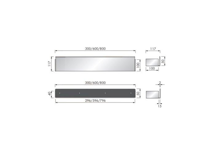 Planchet Inbouw LoooX CShelf 30x10cm Gecoat Staal Wit