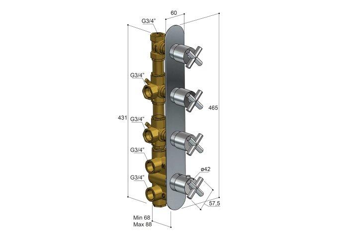 Douchethermostaat Hotbath Chap Inbouw 3 Stopkranen Verticaal Chroom