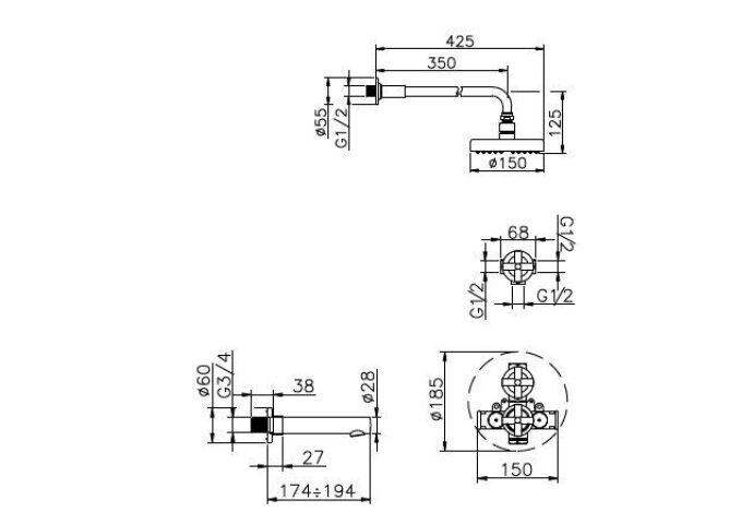 Huber Suite Inbouw Bad/Doucheset met thermostaat 916ST01HCR