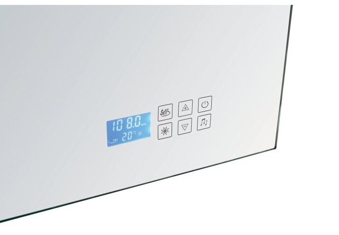 Spiegel Sanilux Mirror Deluxe 120x80x4.5cm Aluminium met TL verlichting + Radio touch sensor