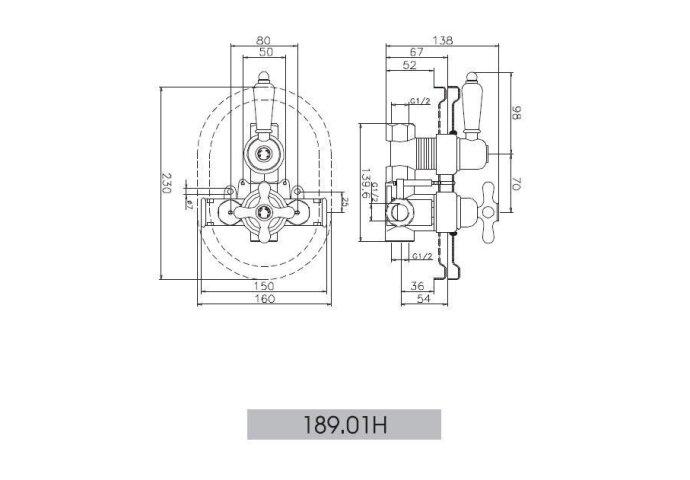 Huber Croisette Inbouw Douchethermostaat Goud 18901HAG