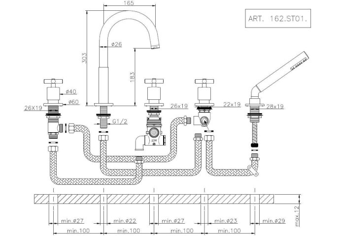 Huber Suite 5-gats badkraan voor badrandmontage 262ST01HCR