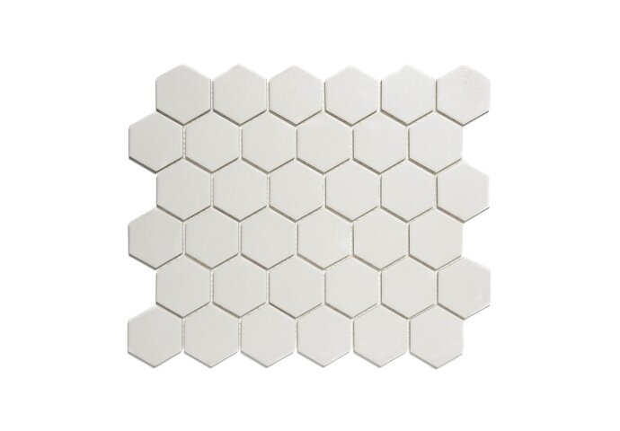 Mozaïek London 28.1x32.5 cm Onverglaasd Porselein Hexagon, Mat Antislip En Super Wit (Prijs Per 0.91 m2)