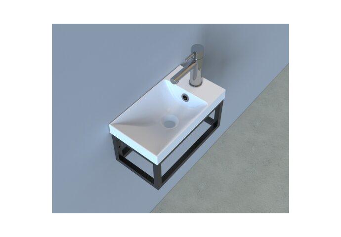 Fonteinset Industrieel BWS Frame Hangend 40 cm Mat Zwart Aluminium Glans Wit (exclusief kraan en afvoer)