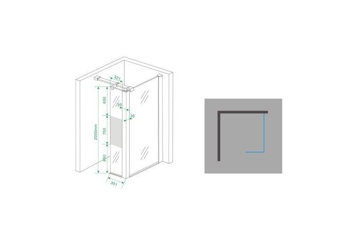 BWS Zijwand Hoekprofiel Irene met Middenband 35x200 10 mm NANO Coating