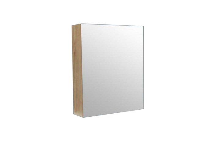 Spiegelkast Sanilux Wood 60x70x16cm Massief eiken Softclose Linksdraaiend
