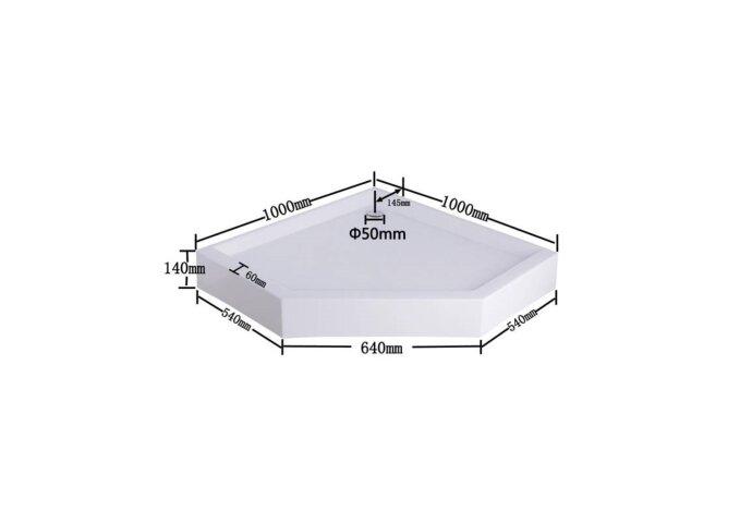 Douchebak vijfhoek met vaste plint 100 cm