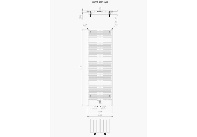 Designradiator Boss & Wessing Locco Middenaansluiting 177,5x60 cm 982 Watt Mat Wit