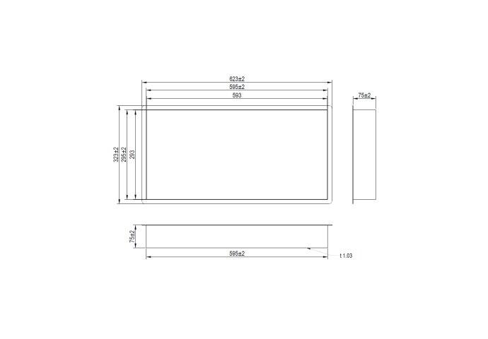 Inbouwnis Brauer Box Met Flens 30x60cm Geborsteld RVS