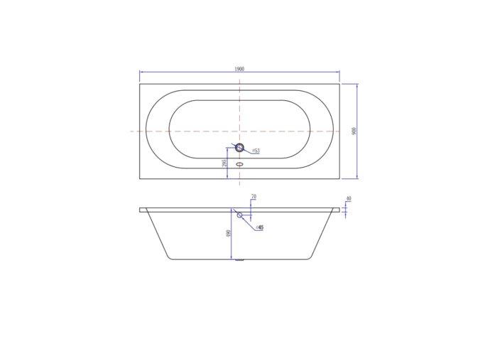 Ligbad Luca Sanitair Primo Inbouw Acryl 190x90x49cm Wit Inclusief Stelpoten