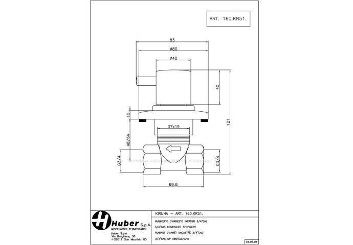 Huber Kiruna Stopkraan inbouw 160KR51HNS