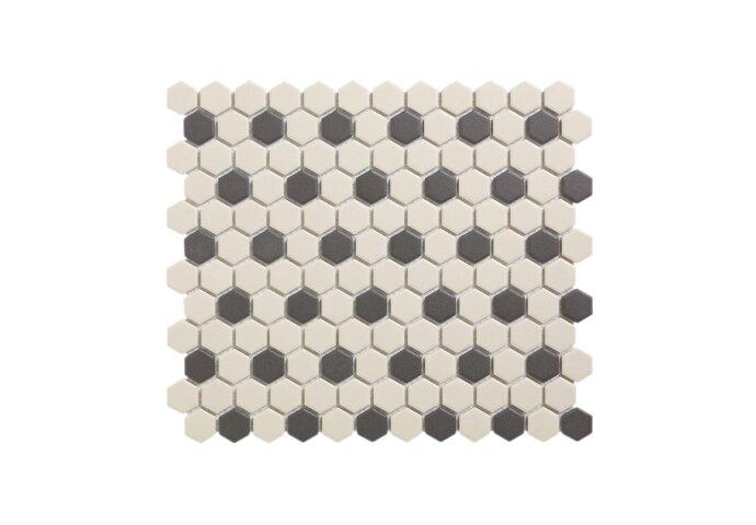 Mozaïek London 26x30 cm Onverglaasd Porselein Hexagon, Wit En Zwart 36 Stippen (Prijs Per 0.78 m2)