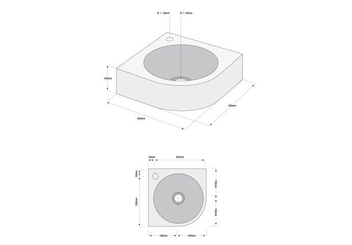 Fonteinset Boss & Wessing Lotte Keramiek Inclusief Eénhendelkraan En Sifon 30x30x10 cm Wit