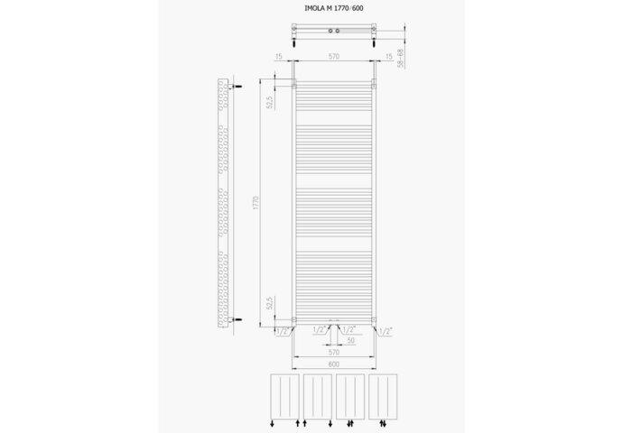 Designradiator Boss & Wessing Ifona 177x60 cm 1359 Watt Met Middenaansluiting Donkergrijs