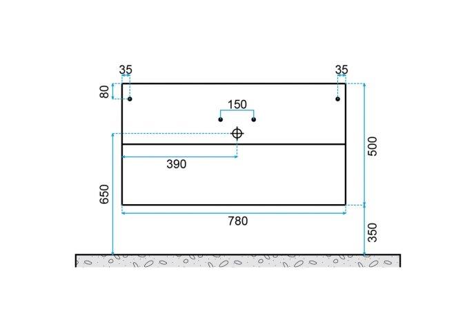 Badkamermeubelset Dekker Klea 80x50x44.5 cm Hoogglans Wit