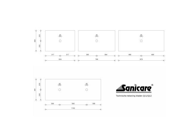 Badkamermeubelset Sanicare Q12 2 Laden Truffel (spiegel optioneel)