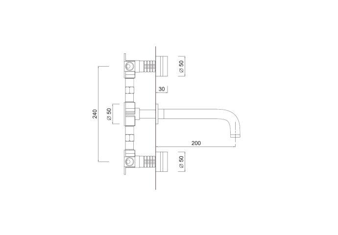 Inbouw Wastafelmengkraan Sanimex Giulini Tweeknops 20cm Inclusief Inbouwdeel Chroom