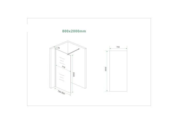 BWS Inloopdouche Pro Line Helder Glas 80x200 Mat Wit Profiel en Stabilisatiestang