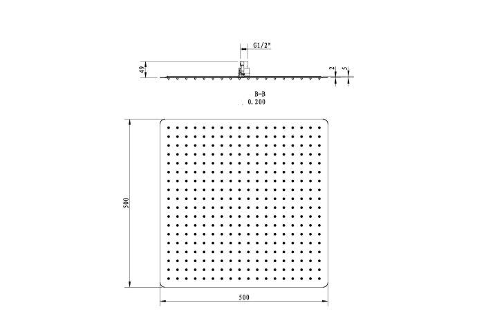 Regendouchekop Sapho Slim Vierkant 50 cm RVS Gepolijst
