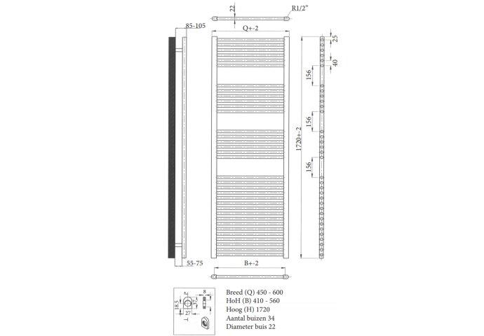 Radiator Sanicare Standaard Recht 920 Watt Inclusief Ophanging 45x172 cm Mat Zwart
