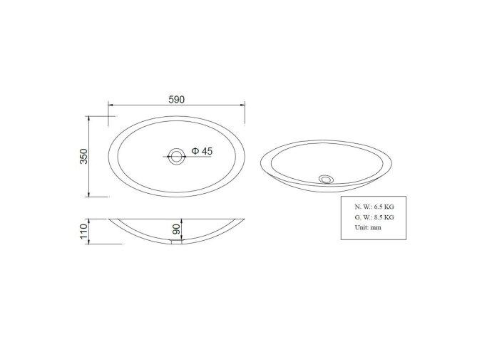 BWS Opzetwastafel Solid Surface 59x35x11cm Ovaal Wit
