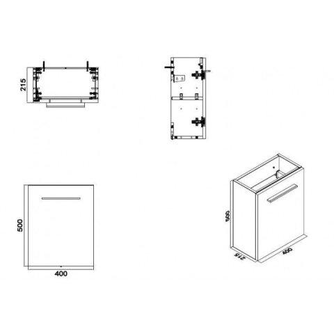 Fonteinkast Vision met Mineraalmarmer Fontein 40cm Licht Eiken